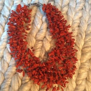 Vintage Jewelry - Coral Rock Choker Necklace
